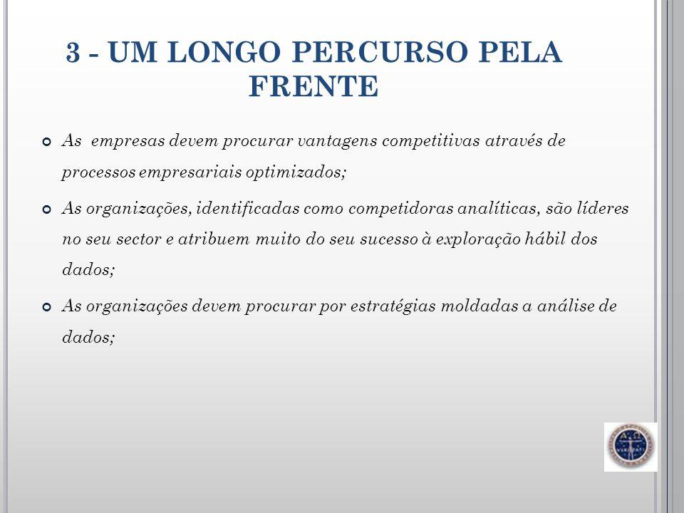 3 - UM LONGO PERCURSO PELA FRENTE As empresas devem procurar vantagens competitivas através de processos empresariais optimizados; As organizações, id