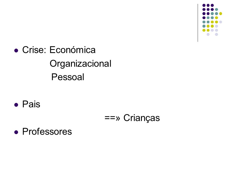 Crise: Económica Organizacional Pessoal Pais ==» Crianças Professores