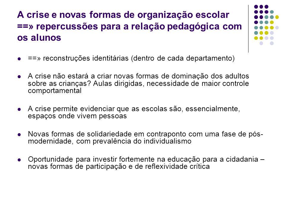 A crise e novas formas de organização escolar ==» repercussões para a relação pedagógica com os alunos ==» reconstruções identitárias (dentro de cada