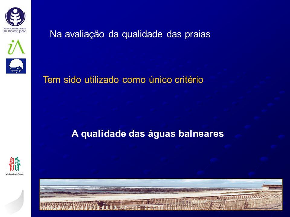 Na avaliação da qualidade das praias Tem sido utilizado como único critério A qualidade das águas balneares