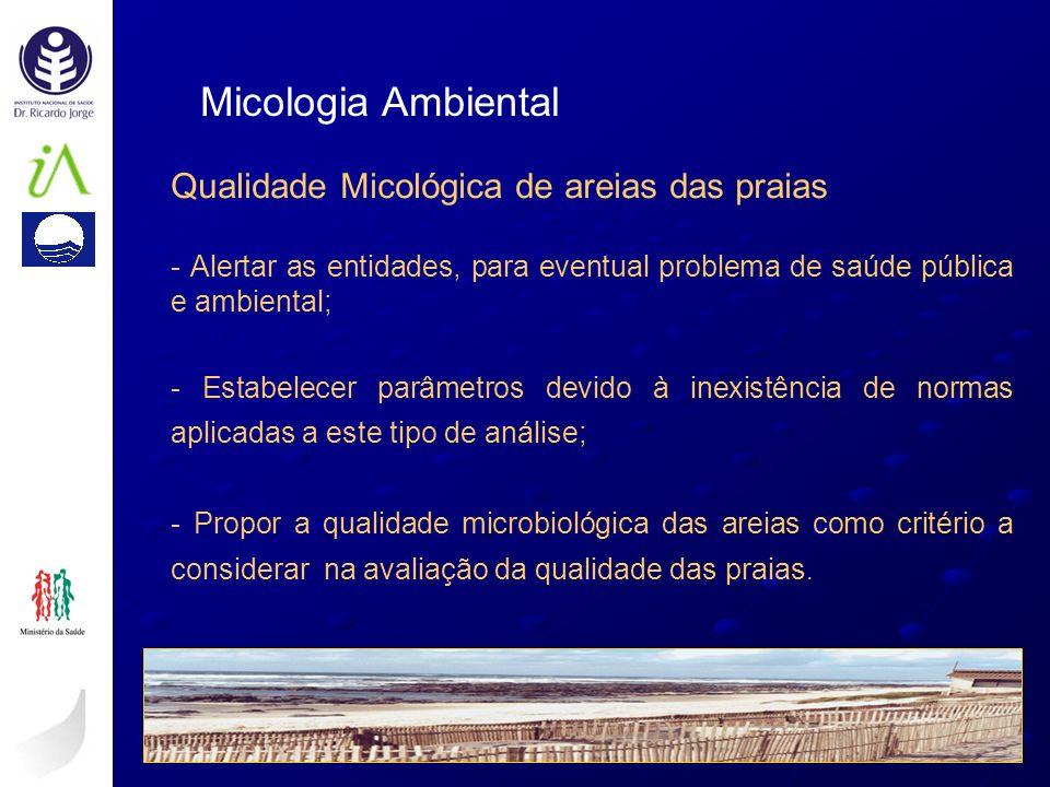 Qualidade Micológica de areias das praias - Alertar as entidades, para eventual problema de saúde pública e ambiental; - Estabelecer parâmetros devido