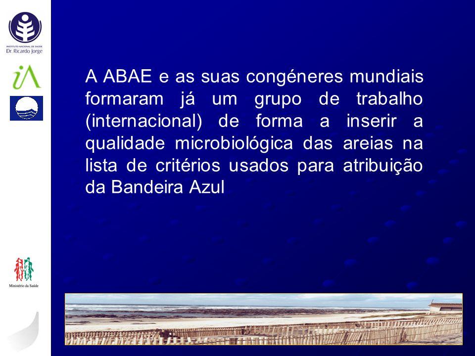 A ABAE e as suas congéneres mundiais formaram já um grupo de trabalho (internacional) de forma a inserir a qualidade microbiológica das areias na list