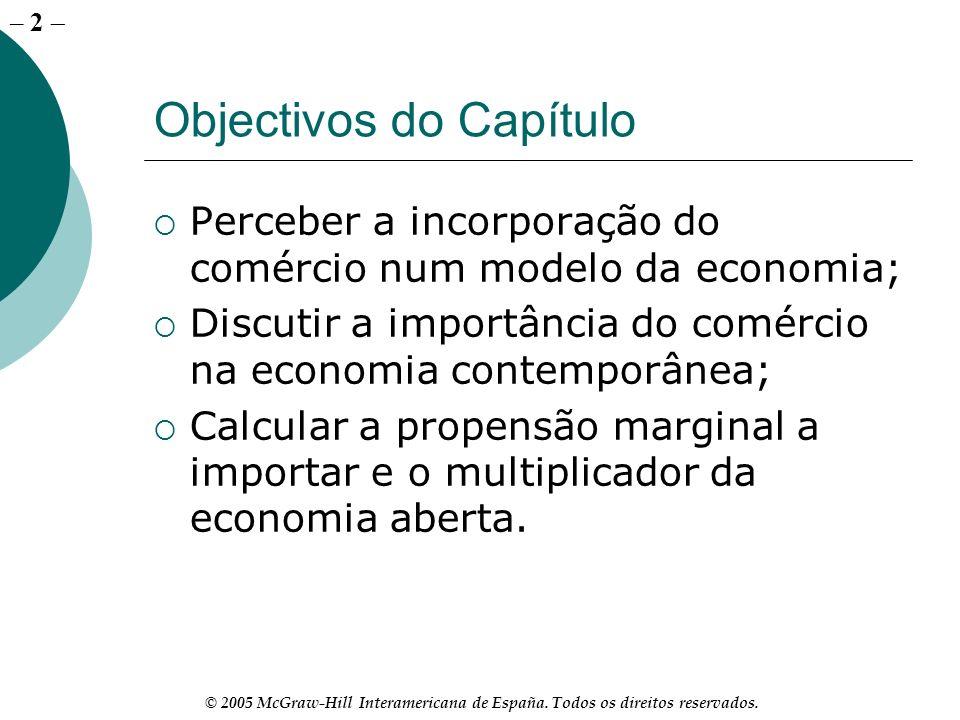 – 2 © 2005 McGraw-Hill Interamericana de España. Todos os direitos reservados. Objectivos do Capítulo Perceber a incorporação do comércio num modelo d