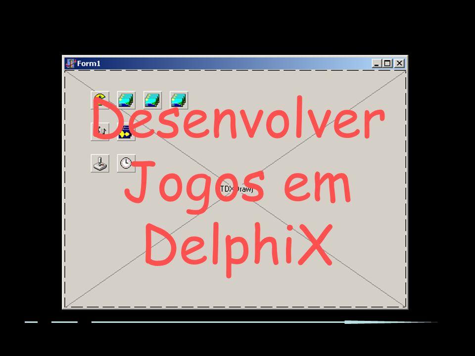 TGame O Tipo TGame representa o Jogo Existe para simplificar e aproveitar as capacidades drag-drop do Delphi Difere de jogo para jogo Apresenta como atributos : –tudo o que representa o jogo (e.g.) score, vidas, tempo –os elementos DelphiX utilizados (e.g.) TDXWaveLists, TDXImageLists, TDXInput...