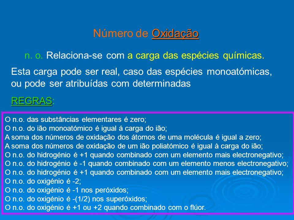 Oxidação Número de Oxidação O n.o. das substâncias elementares é zero; O n.o. do ião monoatómico é igual á carga do ião; A soma dos números de oxidaçã