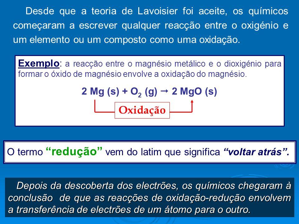 Desde que a teoria de Lavoisier foi aceite, os químicos começaram a escrever qualquer reacção entre o oxigénio e um elemento ou um composto como uma o