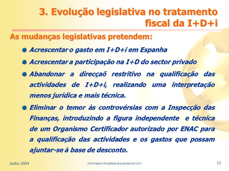 Certificação e fiscalidade de projectos de I+D+i Junho 2004 11 3.