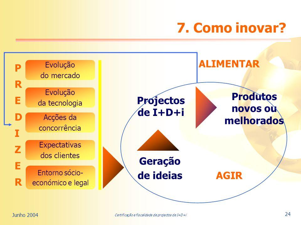 Certificação e fiscalidade de projectos de I+D+i Junho 2004 24 7.