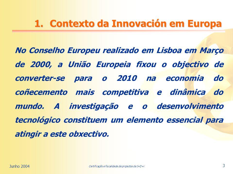 Certificação e fiscalidade de projectos de I+D+i Junho 2004 3 1.Contexto da Innovación em Europa No Conselho Europeu realizado em Lisboa em Março de 2000, a União Europeia fixou o objectivo de converter-se para o 2010 na economia do coñecemento mais competitiva e dinâmica do mundo.