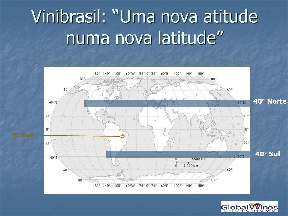 Vinibrasil: Uma nova atitude numa nova latitude 8° Sul 40° Sul 40° Norte