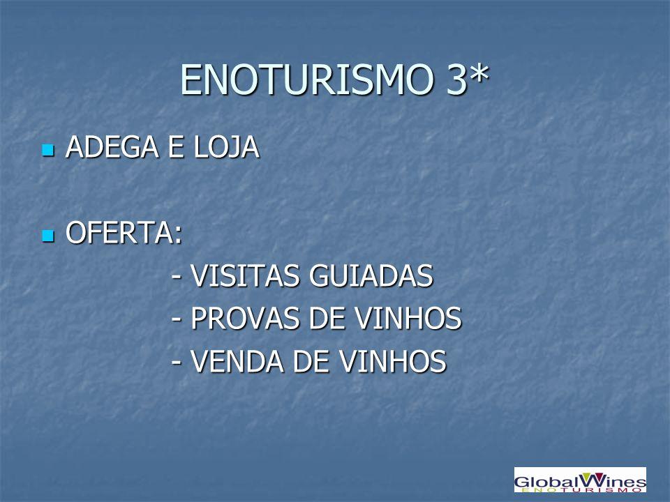 ENOTURISMO 3* ADEGA E LOJA ADEGA E LOJA OFERTA: OFERTA: - VISITAS GUIADAS - VISITAS GUIADAS - PROVAS DE VINHOS - PROVAS DE VINHOS - VENDA DE VINHOS -