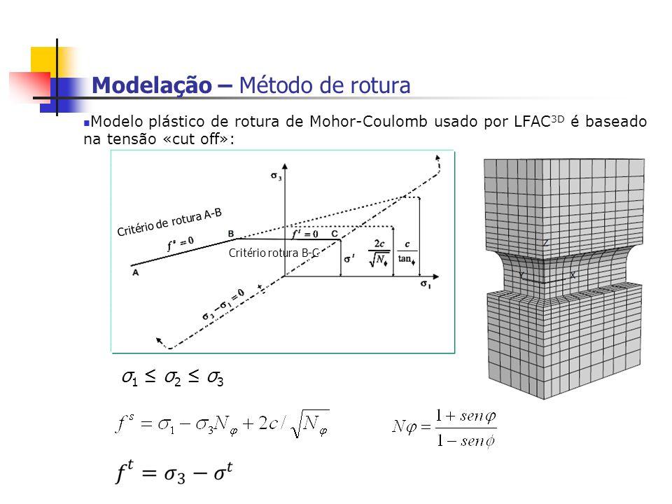 Modelação – Método de rotura Modelo plástico de rotura de Mohor-Coulomb usado por LFAC 3D é baseado na tensão «cut off»: σ1 σ2 σ3σ1 σ2 σ3 Critério de rotura A-B Critério rotura B-C