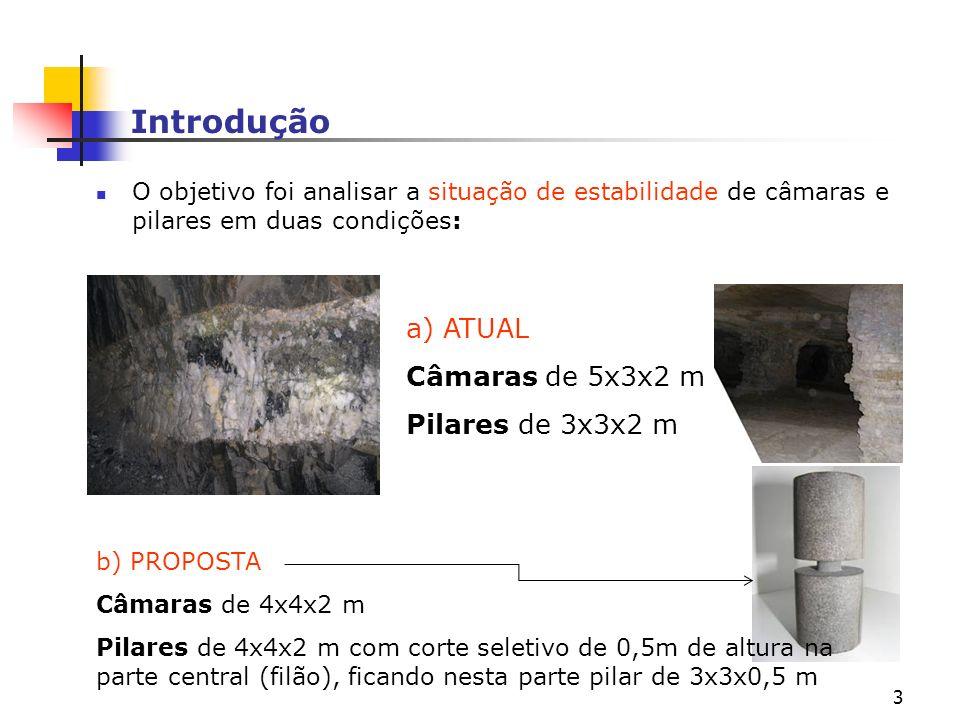 3 Introdução O objetivo foi analisar a situação de estabilidade de câmaras e pilares em duas condições: a) ATUAL Câmaras de 5x3x2 m Pilares de 3x3x2 m b) PROPOSTA Câmaras de 4x4x2 m Pilares de 4x4x2 m com corte seletivo de 0,5m de altura na parte central (filão), ficando nesta parte pilar de 3x3x0,5 m