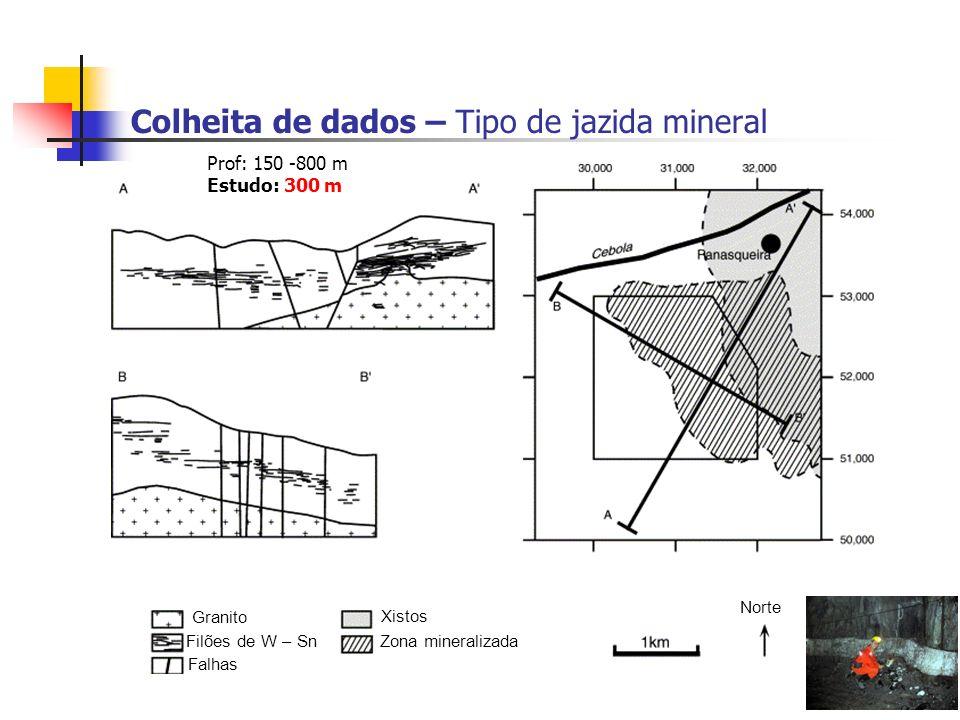Colheita de dados – Tipo de jazida mineral Norte Granito Filões de W – Sn Falhas Xistos Zona mineralizada Prof: 150 -800 m Estudo: 300 m