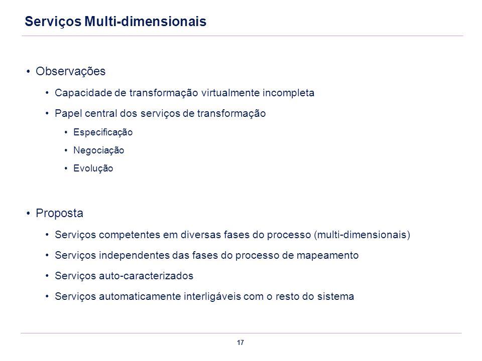 17 Serviços Multi-dimensionais Observações Capacidade de transformação virtualmente incompleta Papel central dos serviços de transformação Especificaç