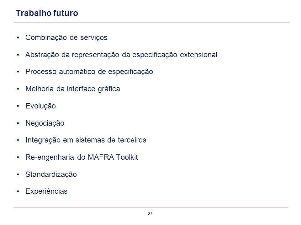 27 Trabalho futuro Combinação de serviços Abstração da representação da especificação extensional Processo automático de especificação Melhoria da int