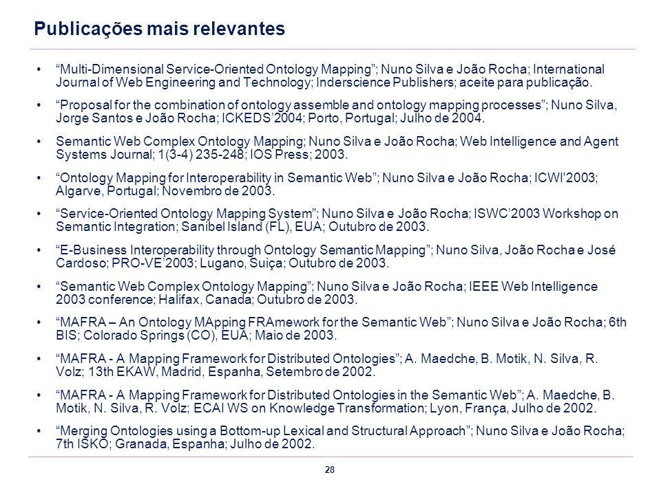 28 Publicações mais relevantes Multi-Dimensional Service-Oriented Ontology Mapping; Nuno Silva e João Rocha; International Journal of Web Engineering