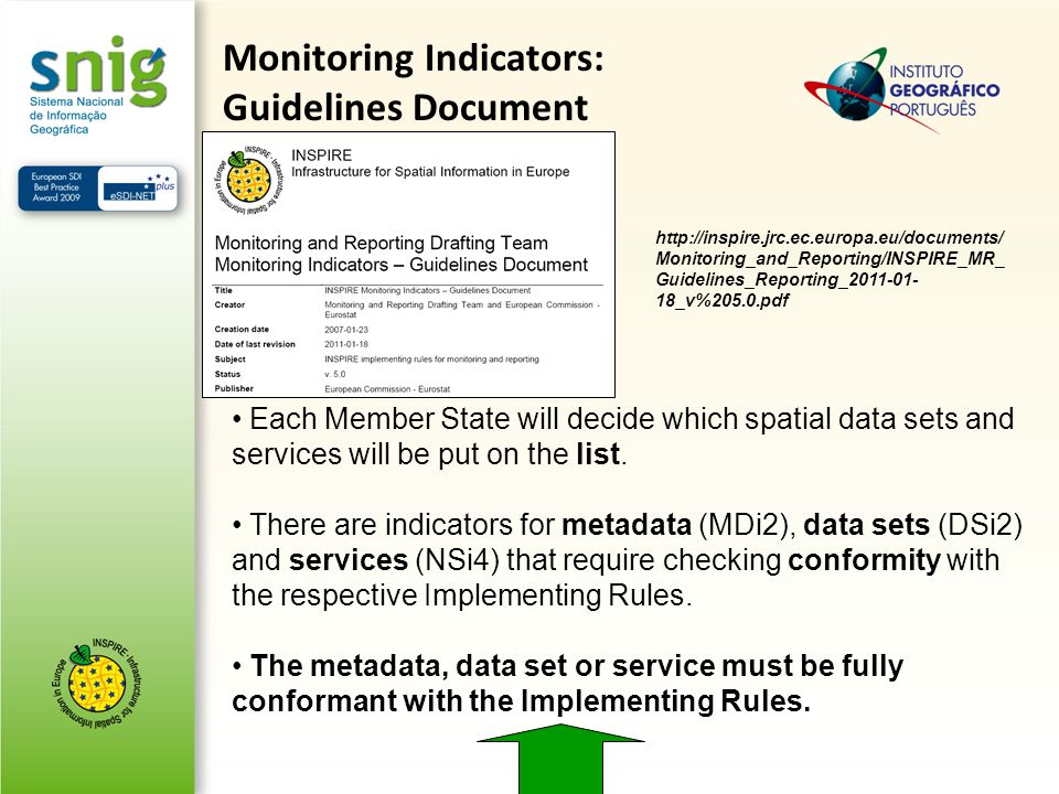 Each Member State will decide which spatial data sets and services will be put on the list. There are indicators for metadata (MDi2), data sets (DSi2)
