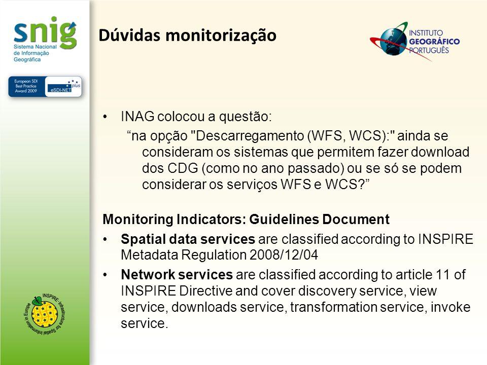 Dúvidas monitorização INAG colocou a questão: na opção Descarregamento (WFS, WCS): ainda se consideram os sistemas que permitem fazer download dos CDG (como no ano passado) ou se só se podem considerar os serviços WFS e WCS.