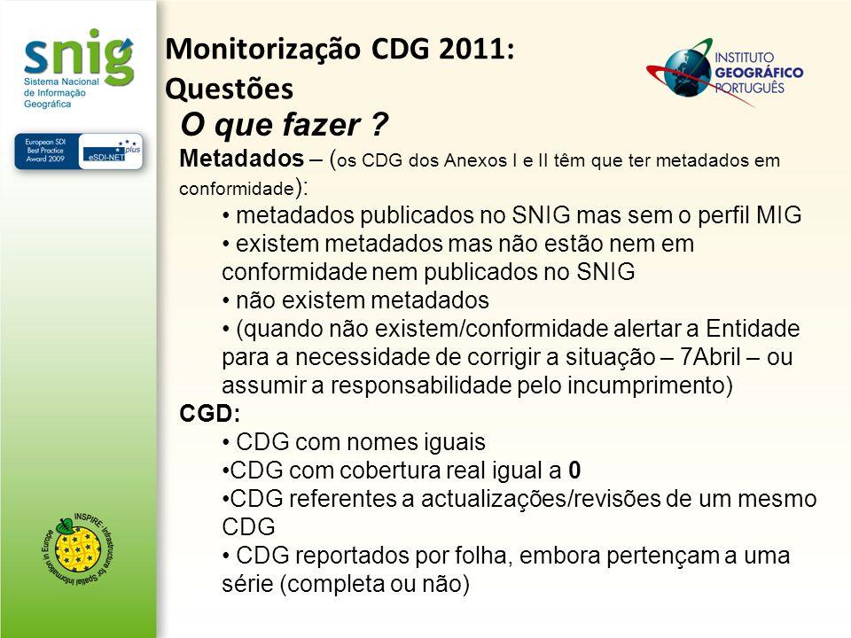 O que fazer ? Metadados – ( os CDG dos Anexos I e II têm que ter metadados em conformidade ): metadados publicados no SNIG mas sem o perfil MIG existe