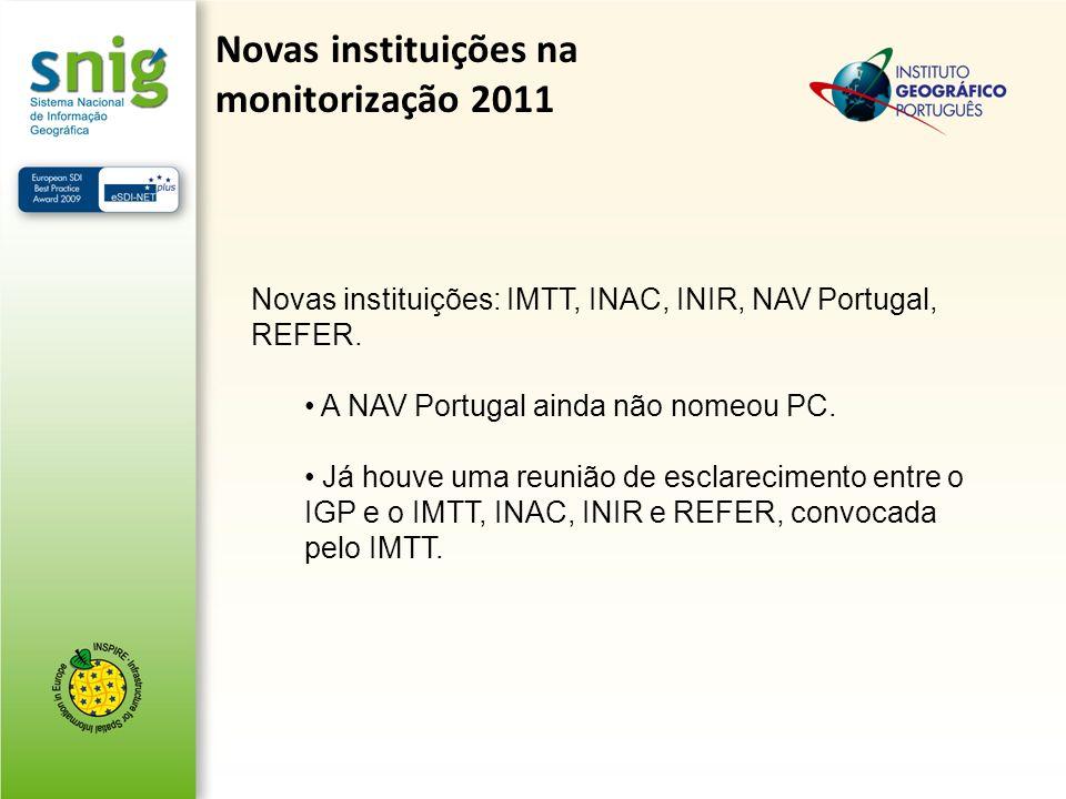 Novas instituições na monitorização 2011 Novas instituições: IMTT, INAC, INIR, NAV Portugal, REFER. A NAV Portugal ainda não nomeou PC. Já houve uma r