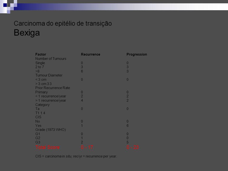 Carcinoma do epitélio de transição Bexiga Factor Recurrence Progression Number of Tumours Single 0 0 2 to 7 3 3 >8 6 3 Tumour Diameter < 3 cm 00 > 3 c