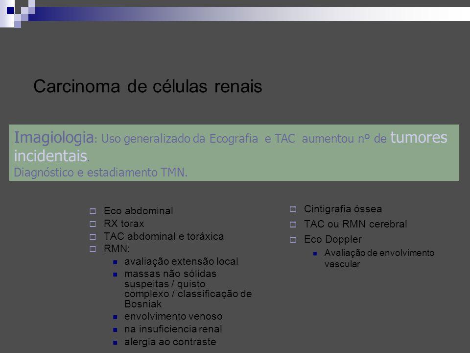 Carcinoma de células renais Eco abdominal RX torax TAC abdominal e toráxica RMN: avaliação extensão local massas não sólidas suspeitas / quisto comple