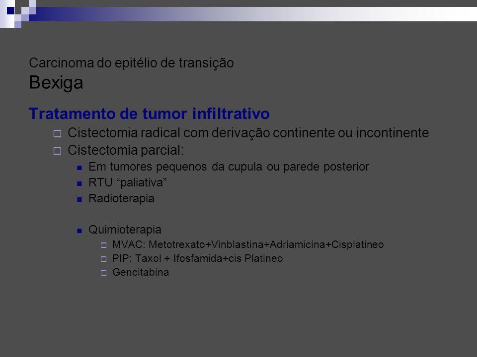 Tratamento de tumor infiltrativo Cistectomia radical com derivação continente ou incontinente Cistectomia parcial: Em tumores pequenos da cupula ou pa