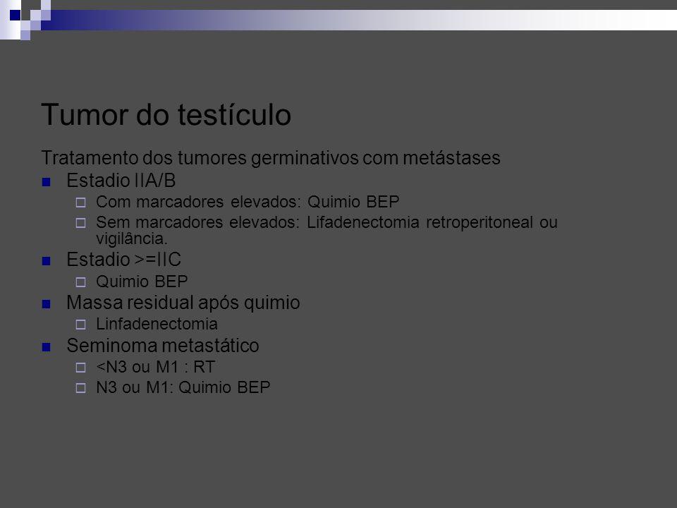 Tratamento dos tumores germinativos com metástases Estadio IIA/B Com marcadores elevados: Quimio BEP Sem marcadores elevados: Lifadenectomia retroperi