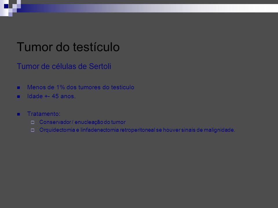 Tumor de células de Sertoli Menos de 1% dos tumores do testiculo Idade +- 45 anos. Tratamento: Conservador / enucleação do tumor Orquidectomia e linfa