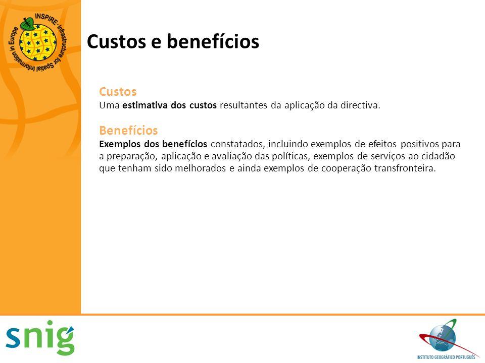 Custos e benefícios Custos Uma estimativa dos custos resultantes da aplicação da directiva. Benefícios Exemplos dos benefícios constatados, incluindo