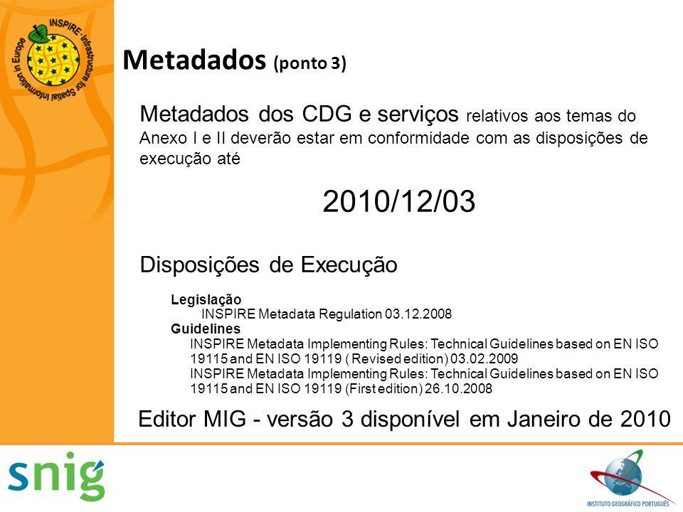 Monitorização da Implementação dos metadados Monitorização da existência de metadados Monitorização da conformidade dos metadados Monitorização da Implementação da interoperabilidade dos conjuntos de dados geográficos Monitorização da existência dos conjuntos de dados geográficos Monitorização da conformidade conjuntos de dados geográficos Monitorização da Implementação dos requisitos para os Serviços de dados geográficos Monitorização da acessibilidade aos metadados através dos serviços de pesquisa Monitorização da acessibilidade dos CDG através dos serviços de visualização e de descarregamento de dados Monitorização utilização dos serviços de rede Monitorização da conformidade dos serviços de rede Elaboração de Relatórios Organização, Coordenação e garantia de qualidade Contributos para o funcionamento e coordenação da infra-estrutura Utilização da infra-estrutura de Informação geográfica Acordos de partilha de dados Aspectos de custos e benefícios Outros Assuntos Monitorização Elaboração de Relatórios Decisão 2009/442/CE de 5 de Junho de 2009 (ponto 4)