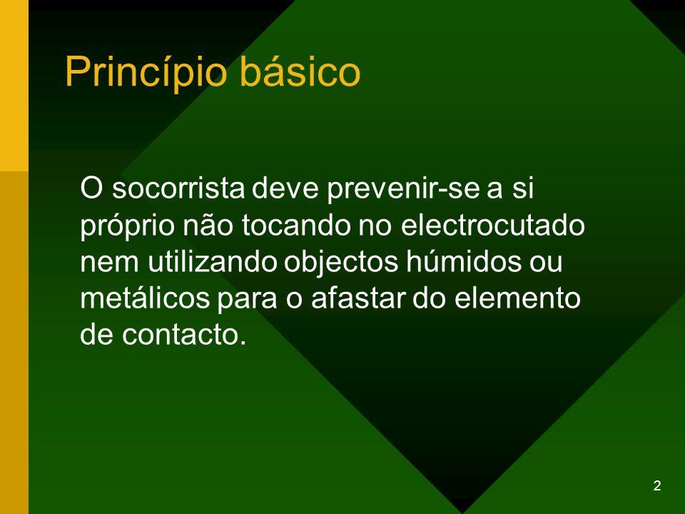 2 Princípio básico O socorrista deve prevenir-se a si próprio não tocando no electrocutado nem utilizando objectos húmidos ou metálicos para o afastar do elemento de contacto.