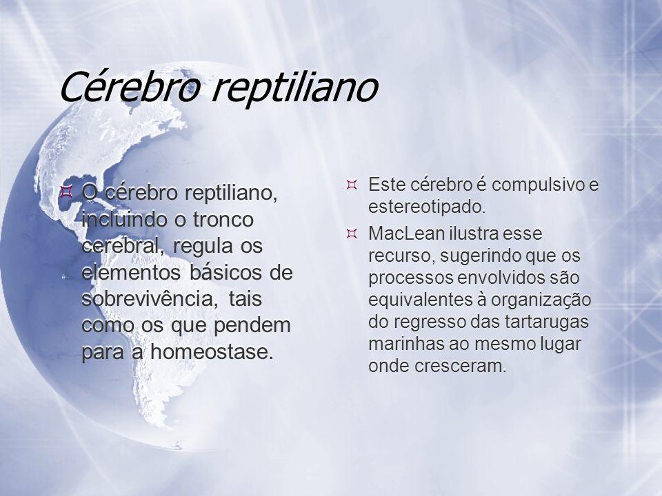Cérebro reptiliano O c é rebro reptiliano, incluindo o tronco cerebral, regula os elementos b á sicos de sobrevivência, tais como os que pendem para a