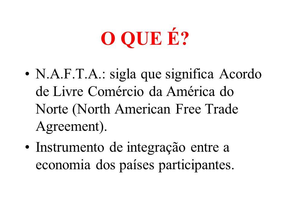 O QUE É? N.A.F.T.A.: sigla que significa Acordo de Livre Comércio da América do Norte (North American Free Trade Agreement). Instrumento de integração