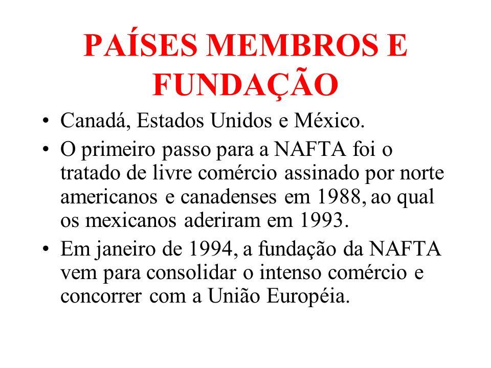 PAÍSES MEMBROS E FUNDAÇÃO Canadá, Estados Unidos e México. O primeiro passo para a NAFTA foi o tratado de livre comércio assinado por norte americanos