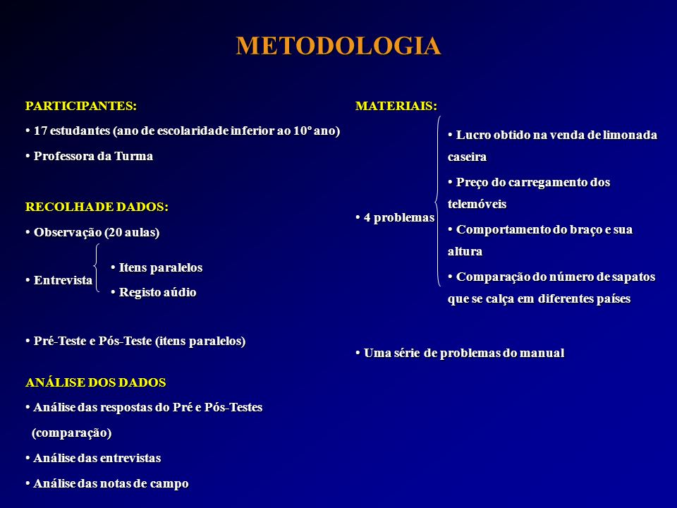 METODOLOGIA PARTICIPANTES: 17 estudantes (ano de escolaridade inferior ao 10º ano) 17 estudantes (ano de escolaridade inferior ao 10º ano) Professora