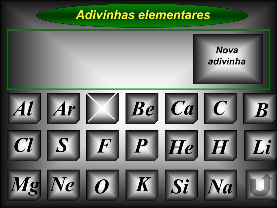 Na Adivinhas elementares Al NBe CaC B K Si Cl O NeMg S FP HeHLi Nova adivinha