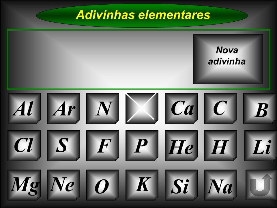 Na Adivinhas elementares AlArBe CaC B K Si Cl O NeMg S FP HeHLi Nova adivinha