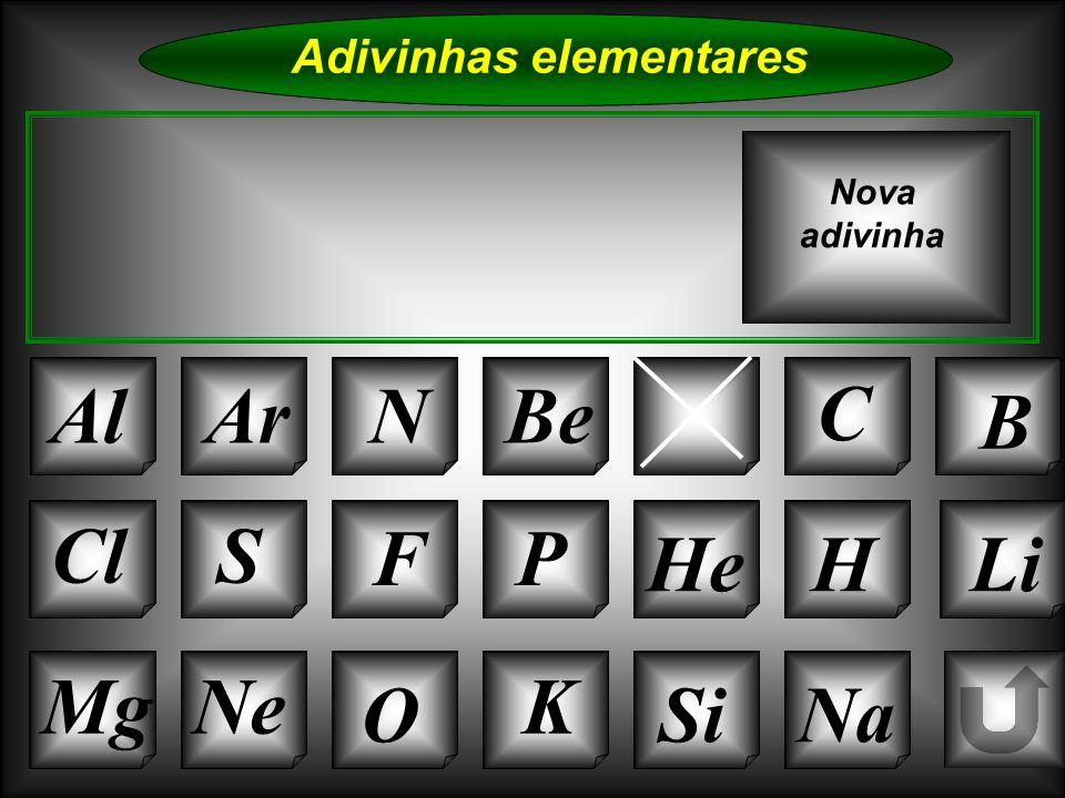 Na Adivinhas elementares AlArN CaC B K Si Cl O NeMg S FP HeHLi Nova adivinha