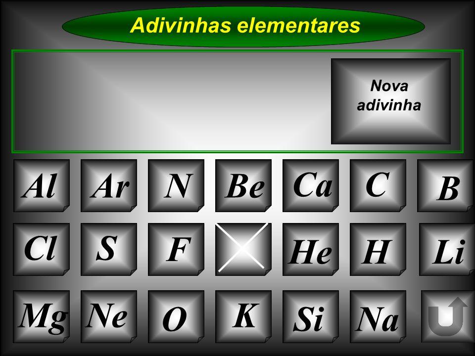 Na Adivinhas elementares AlArNBe CaC B K Si Cl O NeMg S P HeHLi Nova adivinha