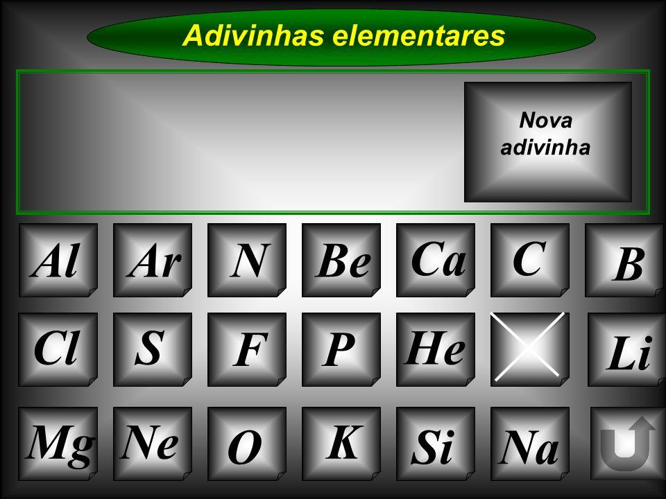 Na Adivinhas elementares AlArNBe CaC B K Si Cl O NeMg S FP HLi Nova adivinha