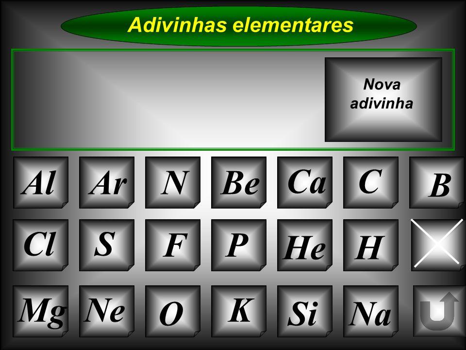 Na Adivinhas elementares AlArNBe CaC B K Si Cl O NeMg S FP He Li Nova adivinha