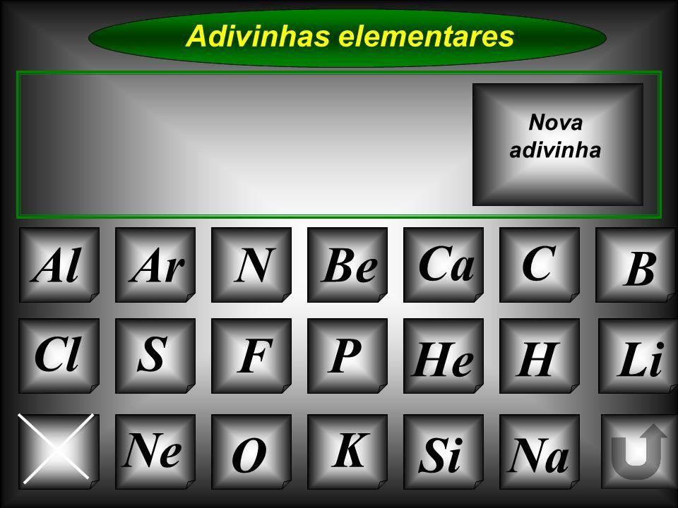 Na Adivinhas elementares AlArNBe CaC B K Si Cl O NeMg S FP HeH Nova adivinha