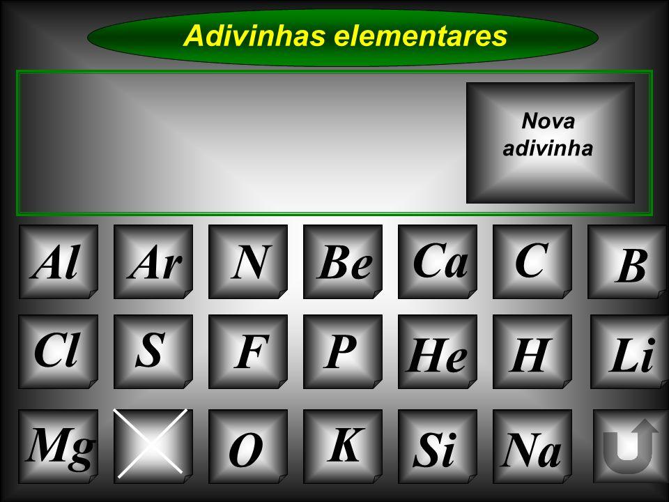 Na Adivinhas elementares AlArNBe CaC B K Si Cl O Ne S FP HeHLi Nova adivinha