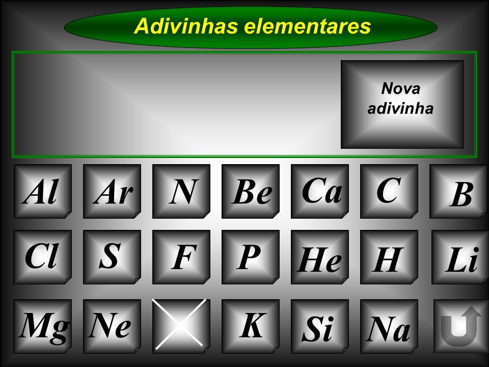 Na Adivinhas elementares AlArNBe CaC B K Si Cl O Mg S FP HeHLi Nova adivinha