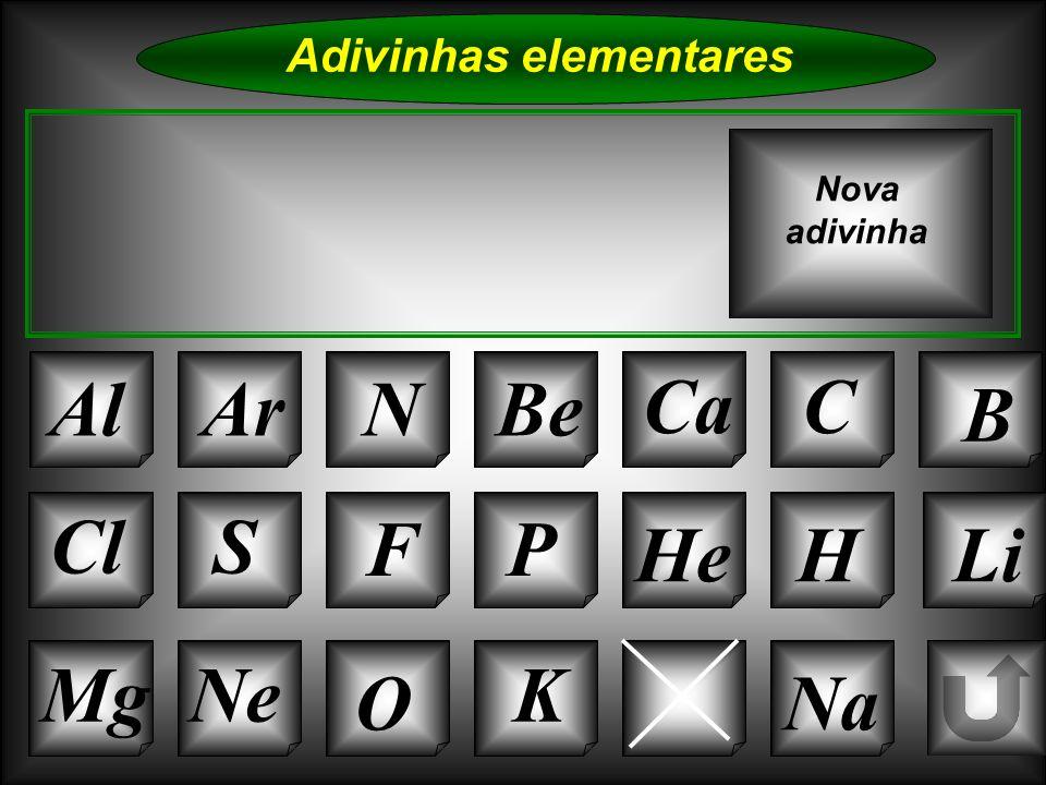 Na Adivinhas elementares AlArNBe CaC B Si Cl O NeMg S FP HeHLi Nova adivinha