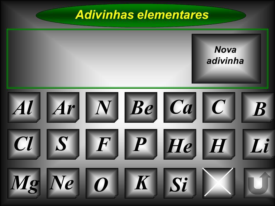 Na Adivinhas elementares AlArNBe CaC B Cl O NeMg S FP HeHLi Nova adivinha K