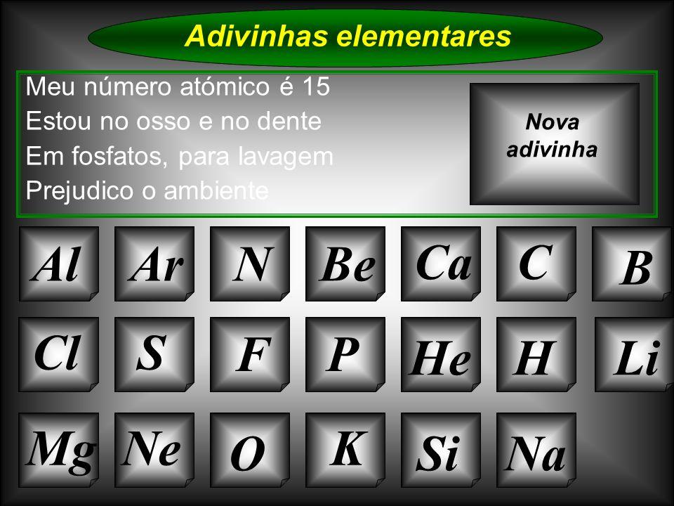 Na Adivinhas elementares ArNBe CaC B Cl O NeMg S FP HeHLi Si Nova adivinha K Al