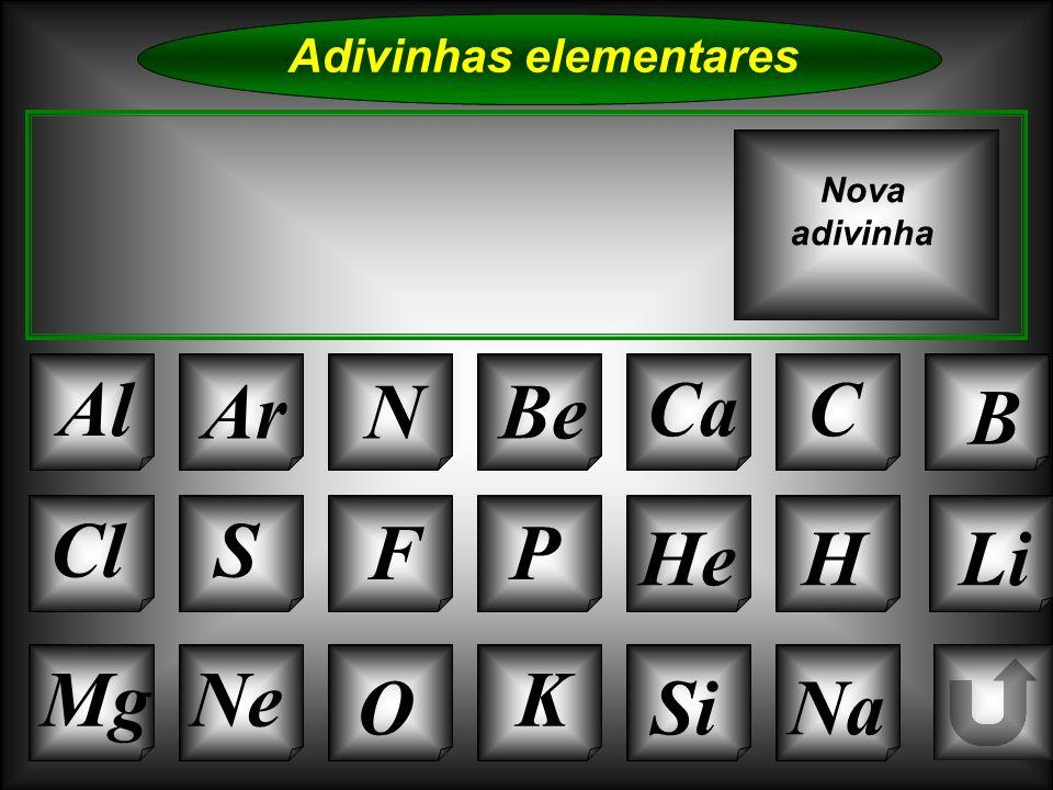 Na Adivinhas elementares AlArNBe CaC B Sou da família do flúor E sou um gás, normalmente Tal como o oxigénio Eu também sou comburente Nova adivinha K